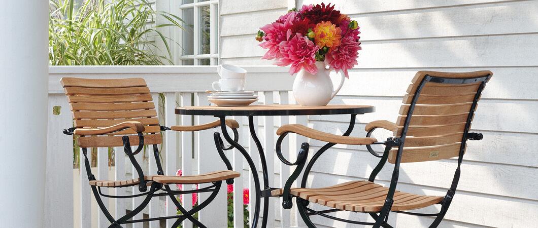 gartenst hle aus teak und stahl garpa. Black Bedroom Furniture Sets. Home Design Ideas