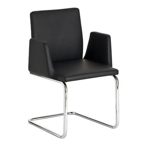 vasco freischwinger mit armlehnen leder schwarz garpa. Black Bedroom Furniture Sets. Home Design Ideas