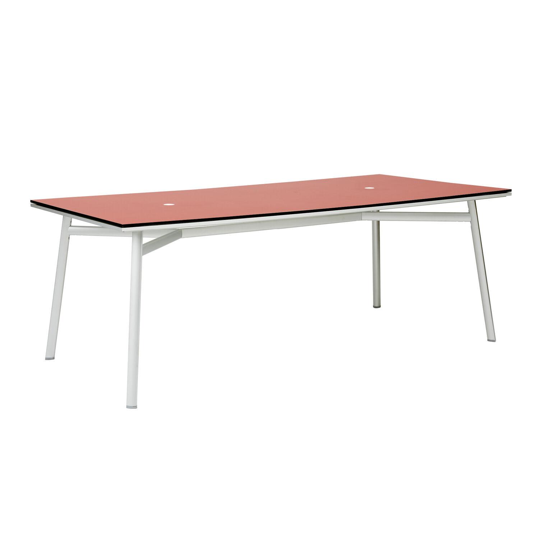 newport tisch 220 x 100 wei rot garpa. Black Bedroom Furniture Sets. Home Design Ideas